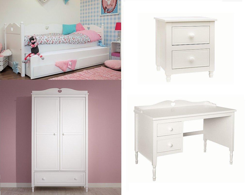 Kinderzimmer Emma (4-tlg) mit Bettbank Emma , Bettschublade und 2-türiger Kleiderschrank