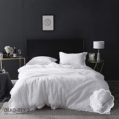 Simple&Opulence 100% Linen Duvet Cover Set 3 Piece White and Grey Solid Wash King Size (1 Duvet Cover, 2 Pillowcases)