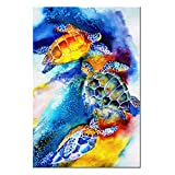 VVOVV Wall Decor - Watercolor Painting Of Sea Turtles Swimming Wall Art For Bedroom Contemporary Home Decor Canvas Print Poster Pictures 24x36inch,with frame