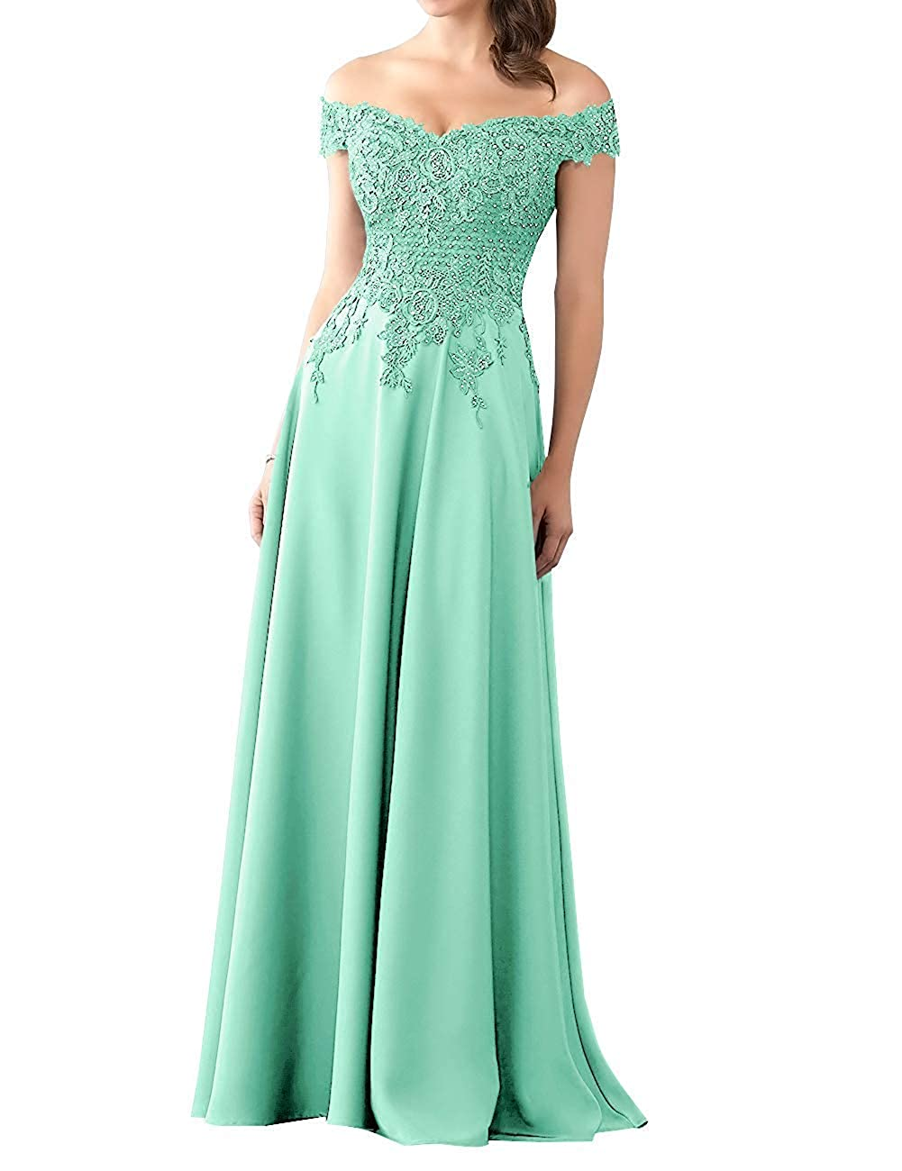 Aqua Mother of The Bride Dress with Sleeve Off Shoulder Long Beaded Mother Dresses Evening Gowns