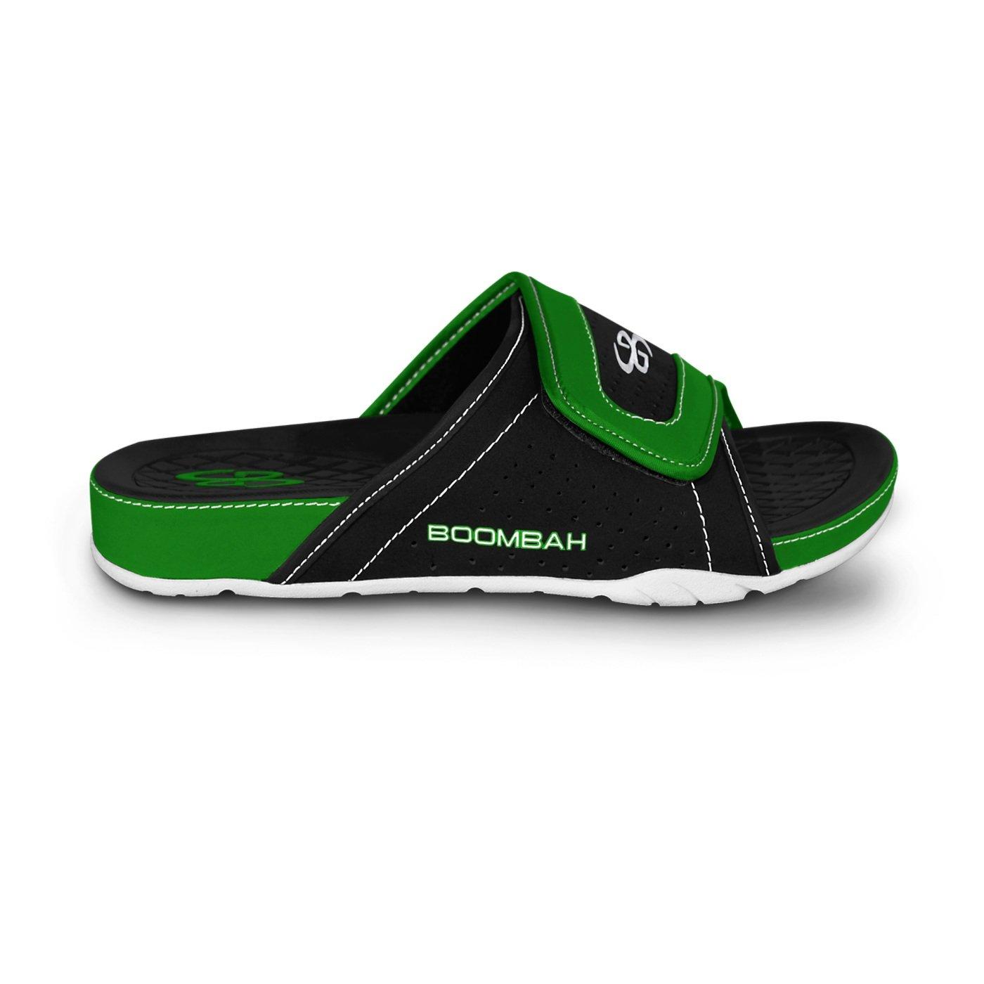 Boombah Men's Tyrant Slide Sandals - 32 Color Options - Multiple Sizes B077NLXHDK 6|Black/Kelly Green