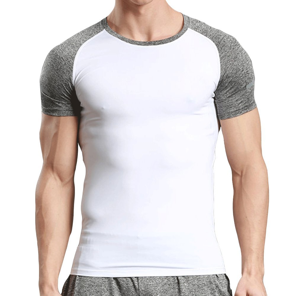 LINGMIN Mens Splice Short Sleeve T-Shirt Athletic Training Sports Compression Shirts
