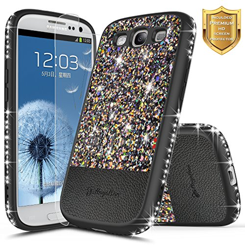Galaxy S3 Case with [Screen Protector HD Clear], NageBee Shiny Diamond Glitter Bling Crystal Super Slim Protective Soft TPU Leather Hybrid Case for Samsung Galaxy S3 S III I9300 GS3 (Black) (Rechargeable Case S3 Galaxy)