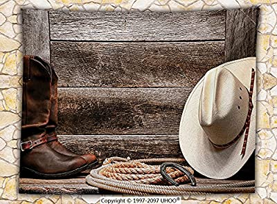 Western Decor Fleece Throw Blanket Americana Rodeo Fashion White Straw Hat Original Lariat Lasso and on Barn Throw Tortilla Brown