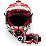 """Armor · AKC-49 Set """"Red"""" (red) · Casco Moto-Cross · Off-Road Scooter Quad Enduro NINOS Racing motocicleta · DOT certificado · Click-n-Secure™ Clip · Bolsa de transporte · XL (59-60cm)"""