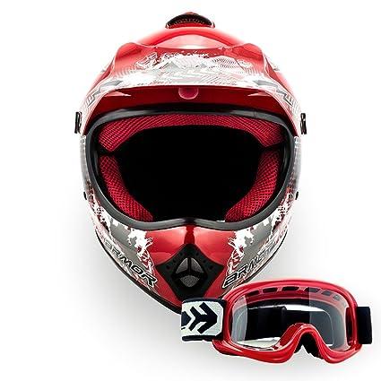 "Armor · AKC-49 Set ""Red"" (red) · Casco Moto-Cross · Racing motocicleta Scooter Off-Road Quad NINOS Enduro · DOT certificado · Click-n-Secure™ Clip · ..."