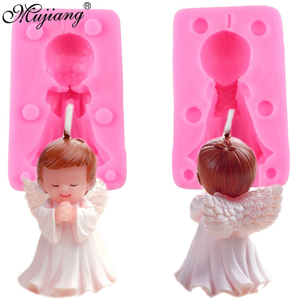 Star Trade Inc - 3D Angel Boy Baby Birthday Cake Candle Mold Soap Silicone Molds Fondant Cake Decorating Chocolate Candy Polymer Clay Moulds (1 pcs)