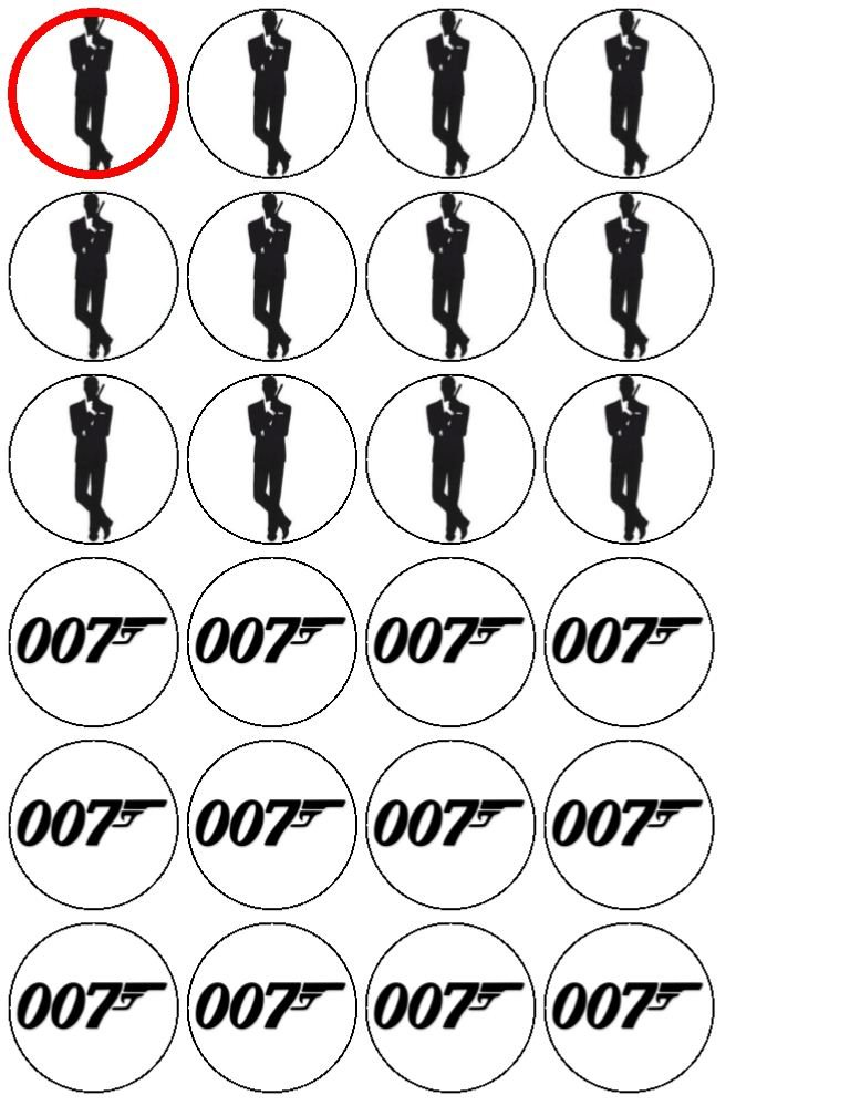 24 James Bond Cupcake Toppers by Coyote Party and print