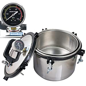 zorvo 8L Portable Autoclave Sterilizers Sterilization Machine, Heating Steam Sterilizer Equipment Sterilizer for Laboratory with Pressure Gauge 【US Shipping】