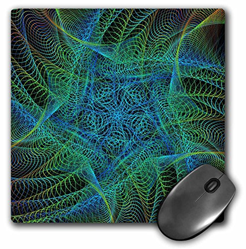 - 3dRose David Zydd - Colorful Abstract Designs - Green Vortex - abstract fractal art design - MousePad (mp_286825_1)