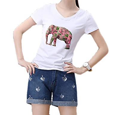 9446c5e1e536 goldenharvest GH Women Summer V Neck Watercolor Rose Elephant Print T Shirt  White XS