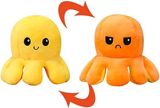 Pupazzo Pulpito reversibile grande giocattolo peluche polpo reversibile XXL Polpo reversibile gigante 30 cm colore: arancione e giallo