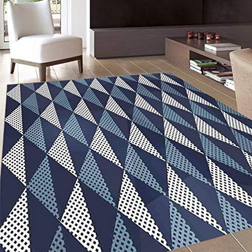 - Rug,FloorMatRug,Geometric,AreaRug,Rhombuses and Dots Composition of Abstract Shapes Retro Revival,Home mat,3'x4'Bluegrey Dark Blue White,RubberNonSlip,Indoor/FrontDoor/KitchenandLivingRoom/Be