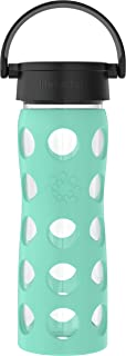 product image for Lifefactory 16-Ounce BPA-Free Glass Water Bottle with Classic Cap and Protective Silicone Sleeve, Sea Green