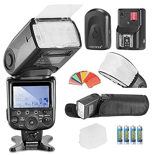 Neewer NW910/MK910 i-TTL HSS LCD Screen Master/Slave Flash Kit for Nikon DSLR Cameras Include:(1)NW910/MK910 Flash+(1)35 Color Filter+(1)Soft&Hard Diffuser+(1)Wireless Flash Trigger+(4)LR Battery