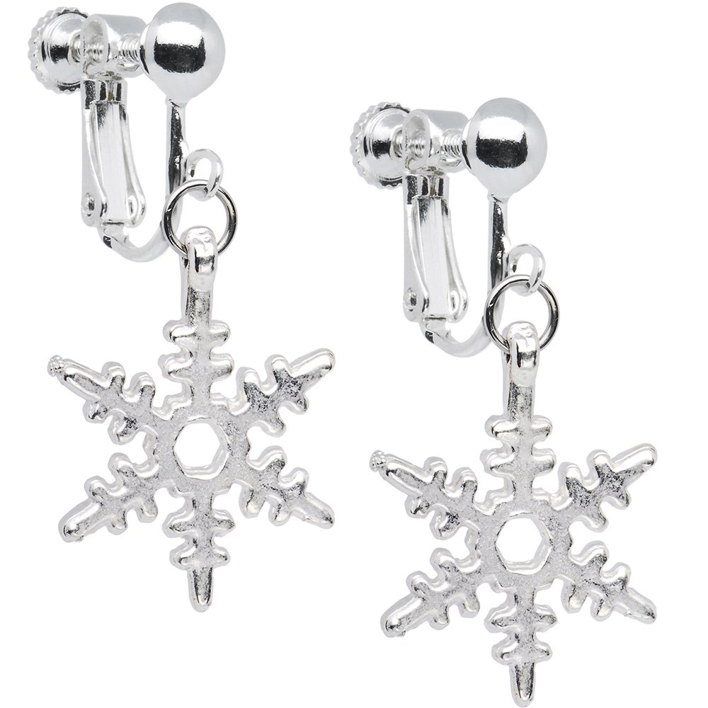 Holiday Winter Snowflake Clip Earrings Body Candy HC-3396