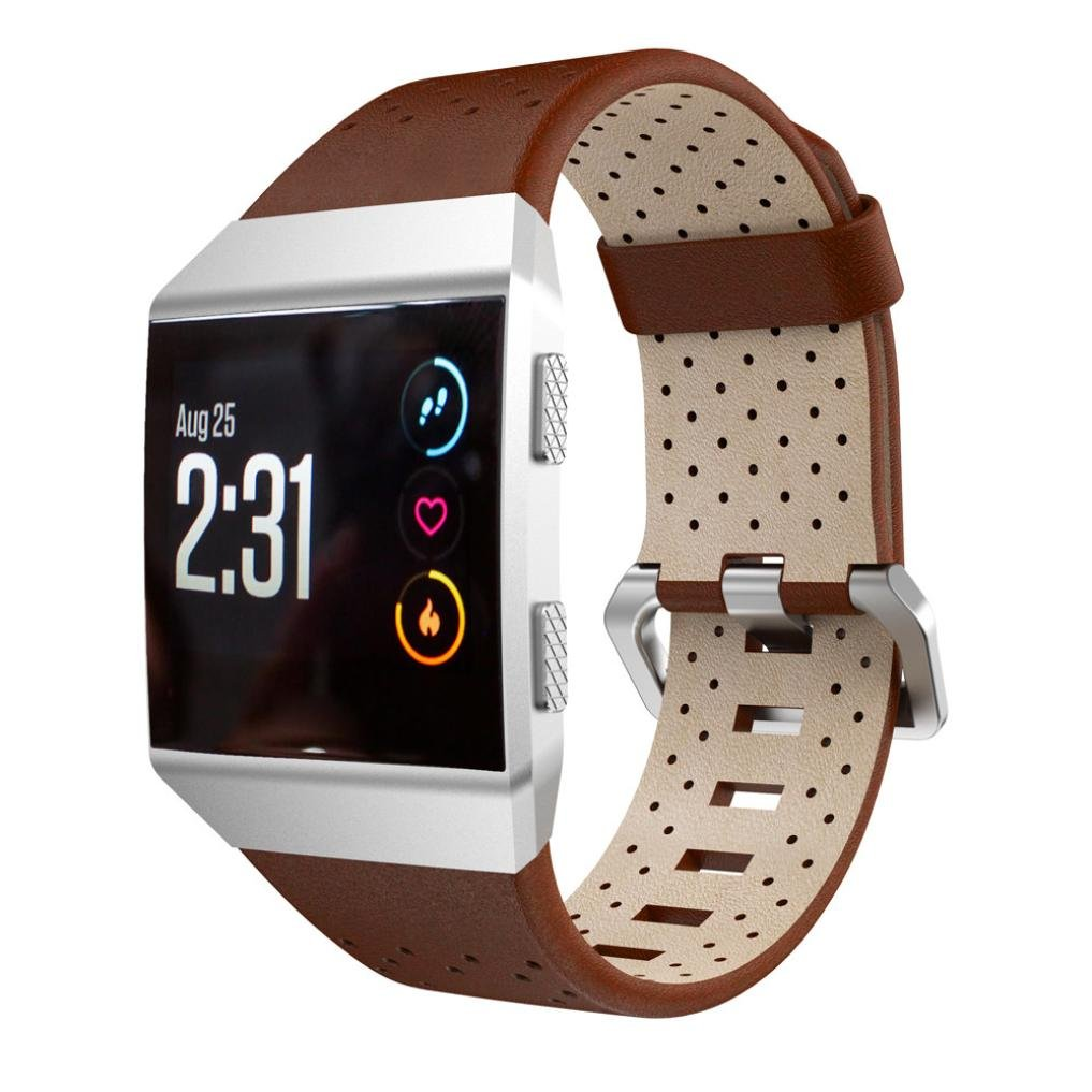 Fitbit Ionic帯、Liu Nian Perforatedレザーアクセサリーバンドブレスレットクイックリリースバンドfor Fitbit Ionic Smart Watch B0776RFDCJ ブラウン
