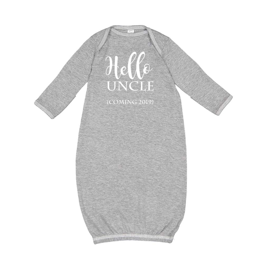 Coming 2019 Announcement Baby Cotton Sleeper Gown Hello Uncle