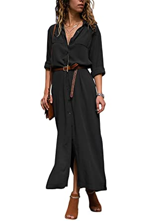 2eec26721f9 Happy Sailed Women V Neck Rolled Up Long Sleeve Button Down Long Dresses  Side Split Shirt Casual Dress with Belt S-XL at Amazon Women s Clothing  store