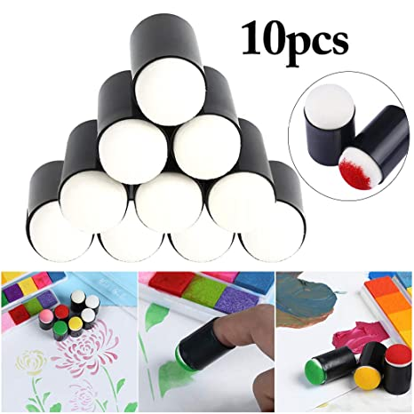 NUOBESTY Finger Sponge Daubers Art Craft Drawing Project Finger Painting Sponge Set for Painting Drawing Ink Card Making Commodities for Finger Painting 12pcs
