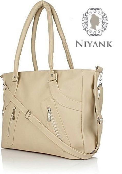 034b6b71c4 Niyank Pu Leather Women s Stylish Handbag - Creamy Bag (Nhp-8864)  Amazon.in   Shoes   Handbags