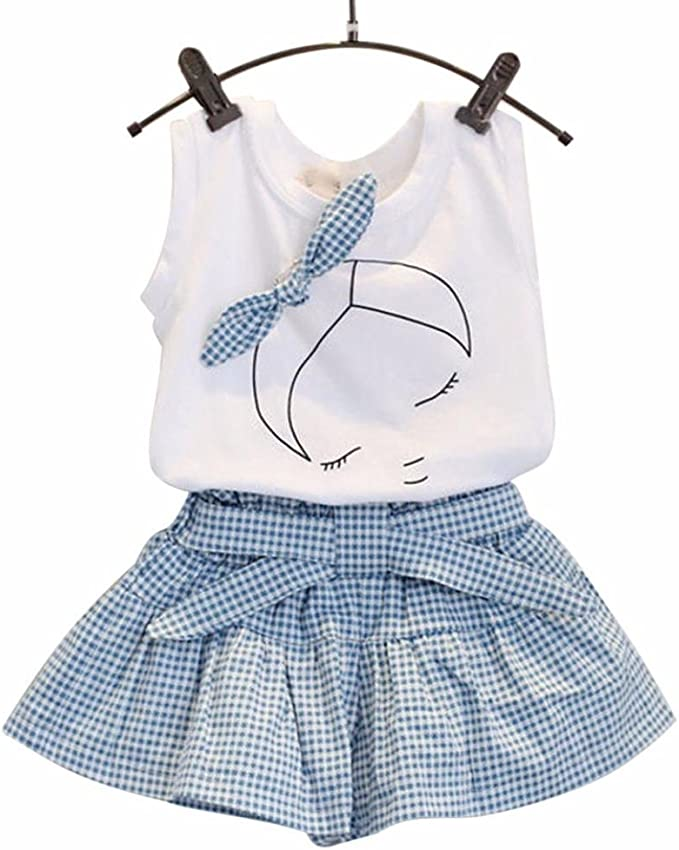 UK Summer Kids Baby Girls Floral Vest Tops+Plaid Skirt Dress Clothes Outfits Set