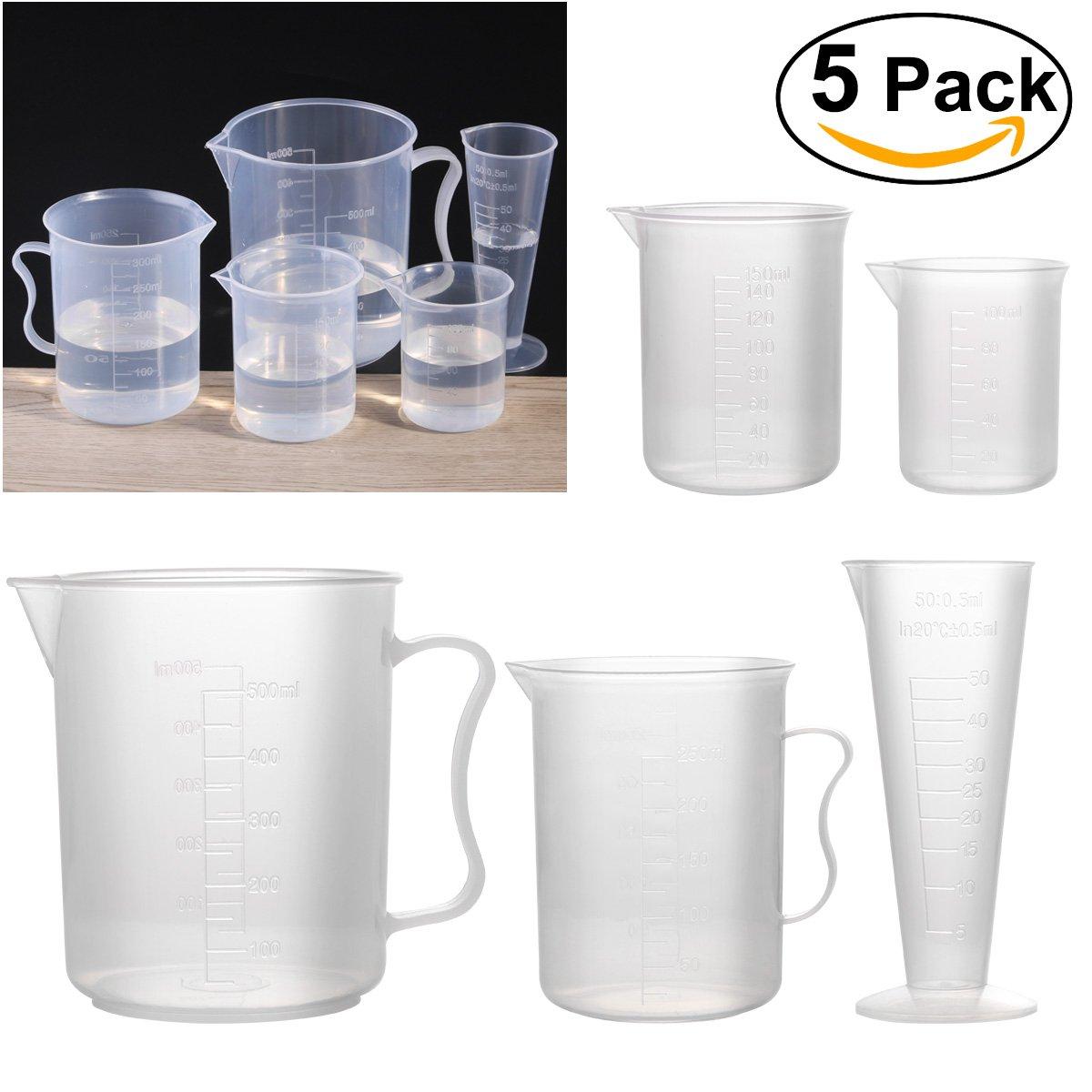 UEETEK Plastic Measuring Cup Beaker Labs Graduated Beakers 50ml 100ml 150ml 250ml 500ml, Set of 5