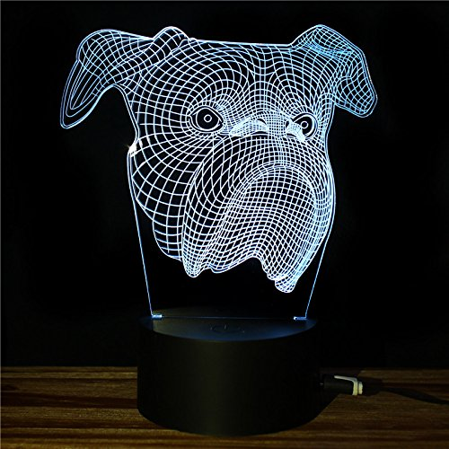 Table Lamp 7 Colors Changing For Kids'Room, Bedroom, Home Decorations or Wedding, Party, Present (shar pei Head) ()