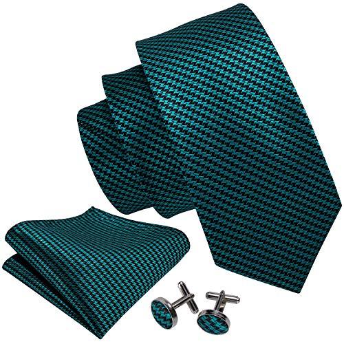(Barry.Wang Teal Ties for Men Handkerchief Cufflinks Necktie Set Fashion)