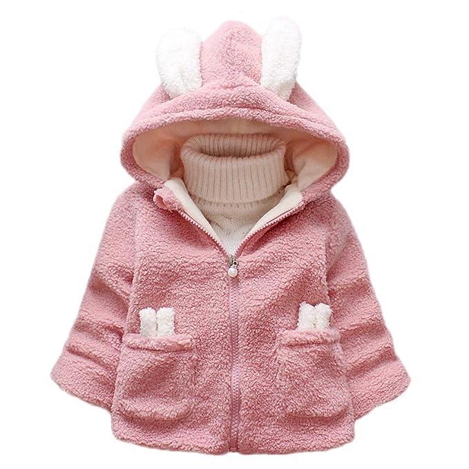 Cute Infant Kids Girl Warm Cartoon Rabbit Ears Hooded Fluffy Coat Jacket Clothes