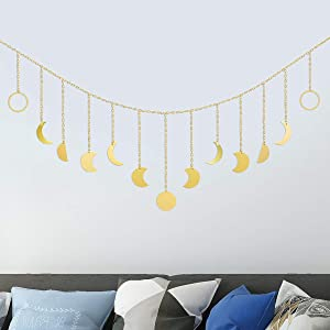 Sybedu Moon Decor Wall Hanging Art Boho Decor Wall Decorations Moon Phase Wall for Bedroom Home Office Dorm Room Nursery Decor Moon Phase Garland Metal Decoration,Gold