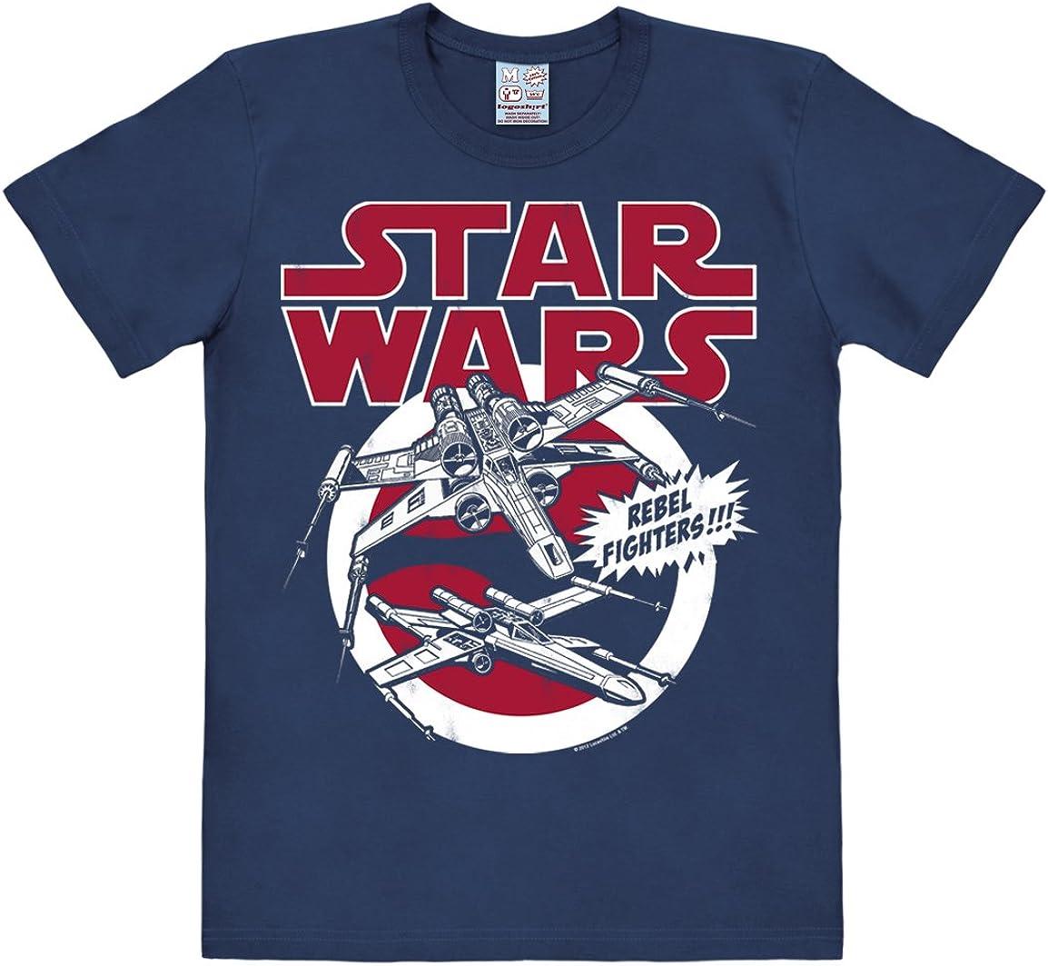 Maglietta Girocollo Blu Scuro Design Originale Concesso su Licenza Star Wars Maglia Guerre Stellari X-Wings Logoshirt T-Shirt X-Ali Astronave
