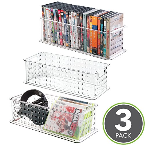 mDesign Video Games, DVD, CD Box Case Media Entertainment Plastic Baskets Bins Holders Storage Organizers - Set of 3, Clear by mDesign