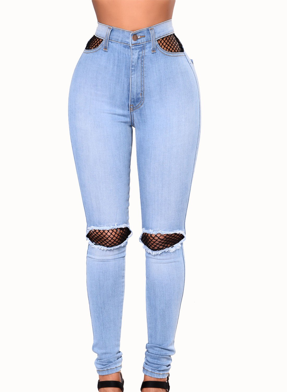 a347107eb5c68 Sidefeel Women Hight Waist Ripped Denim Ankle Length Skinny Jeans HX78691-P  Holiday Gifts