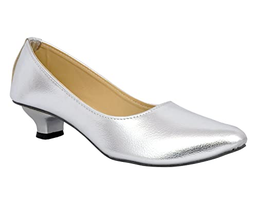 d9c13f68751 Altek Spark Silver Kitten Heel Belly  Buy Online at Low Prices in India -  Amazon.in