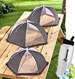 Gift Included- Kitchen Garden Mesh Food Covers For Picnics & Outdoor Parties Set of 3 Tents  Black and White + FREE Bonus Water Bottle by Home Cricket Homecricket