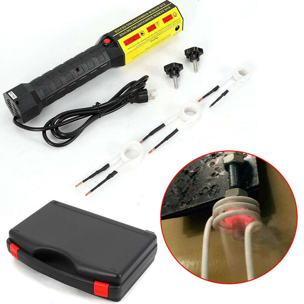 Magnetic Induction Heater Magnetic Induction Heater Kit 110V Compound Nuts Repair Tool Kit Flameless Heat Induction Heat 1000W Handheld Induction Heater with 3 Coils and Tool Box