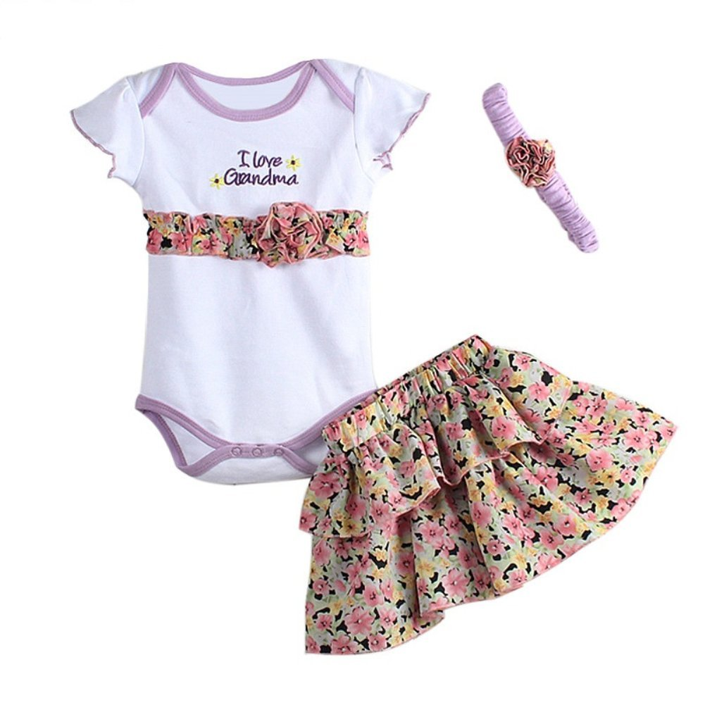 UWESPRING Baby Girls' I Love Grandma Romper With Purple Floral Skirt And Headbank 3Pcs Outfits 6M