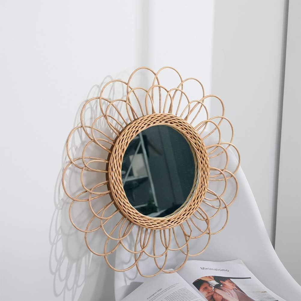 KENANLAN Espejo Colgante de 40 cm Espejo de Pared Circular Girasol de rat/án decoraci/ón Bohemia de Mimbre para tocador de Maquillaje
