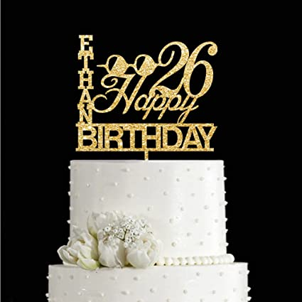 Amazon Com Kiskistonite 26th Glass Design Happy Birthday Cake