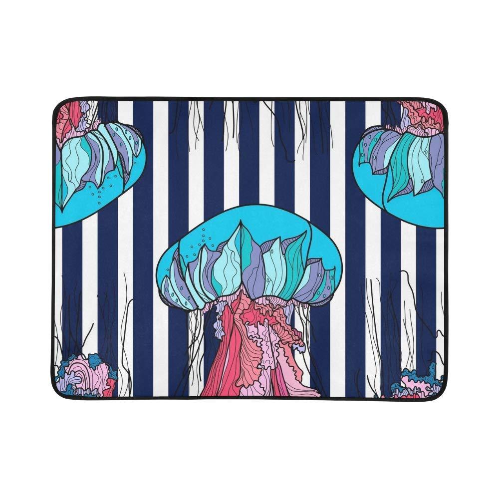 EIJODNL Jellyfish Blau Stripes Portable and Foldable Blanket Mat 60x78 Inch Handy Mat for Camping Picnic Beach Indoor Outdoor Travel B07MYN7C43 Picknickdecken Im Gegensatz zu dem gleichen Absatz