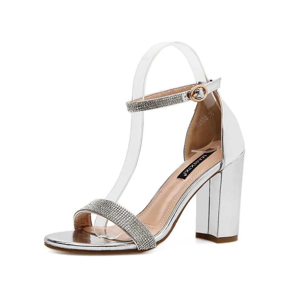 ZHZNVX Die neue Feder und der Sommer Wasser Bohrer silber Schlitz grobe Dornschließe Sandalette high-heel Schuhe zu umgehen.