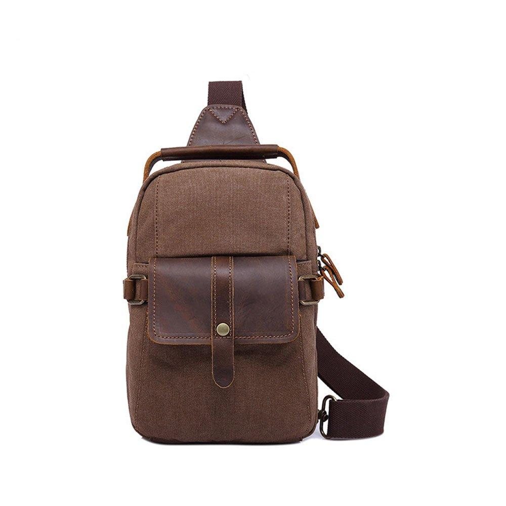 Zxcvlina Simple Retro Zipper Canvas Chest Shoulder Bag Messenger Bag Color:Brown
