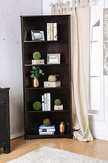 Rockwall Dark Walnut Solid Wood Bookshelf By Furniture Of America