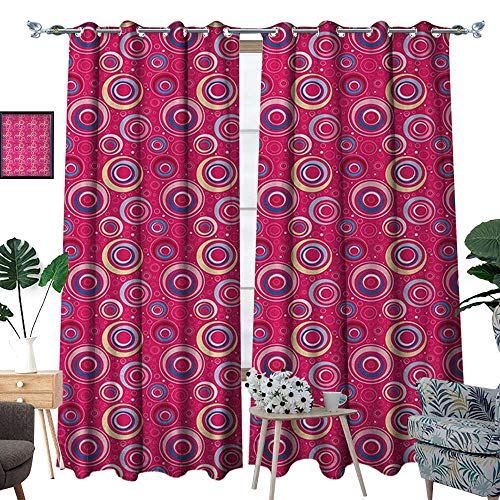 RenteriaDecor Funky Waterproof Window Curtain Abstract Pattern with Big and Small Circles Dots Retro Modern Artful Design Blackout Draperies for Bedroom W84 x L96 Pink Blue Yellow (Dot Circle Valance)
