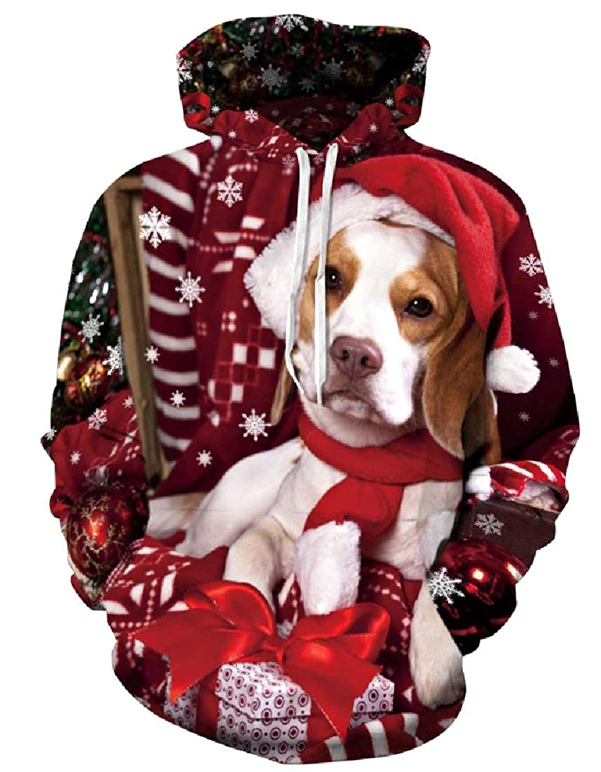 Sebaby Mens Christmas Halloween Loose-Fit Jersey Outwear with Hood
