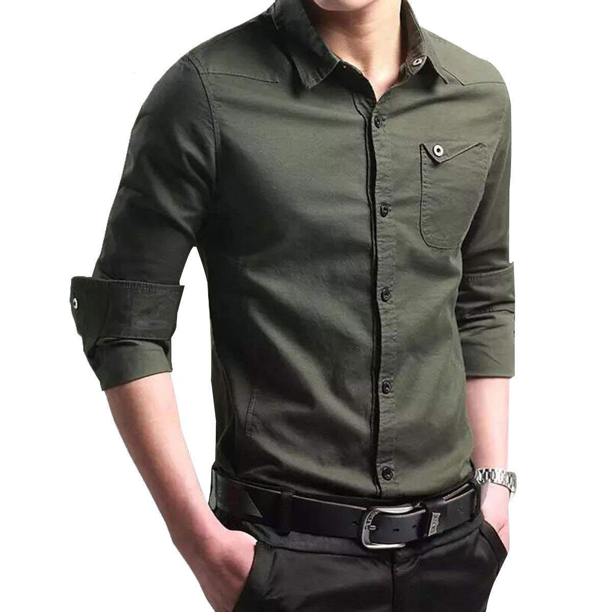 Orangetime Mens Dress Shirts For Men Casual Slim Fit Long Sleeve