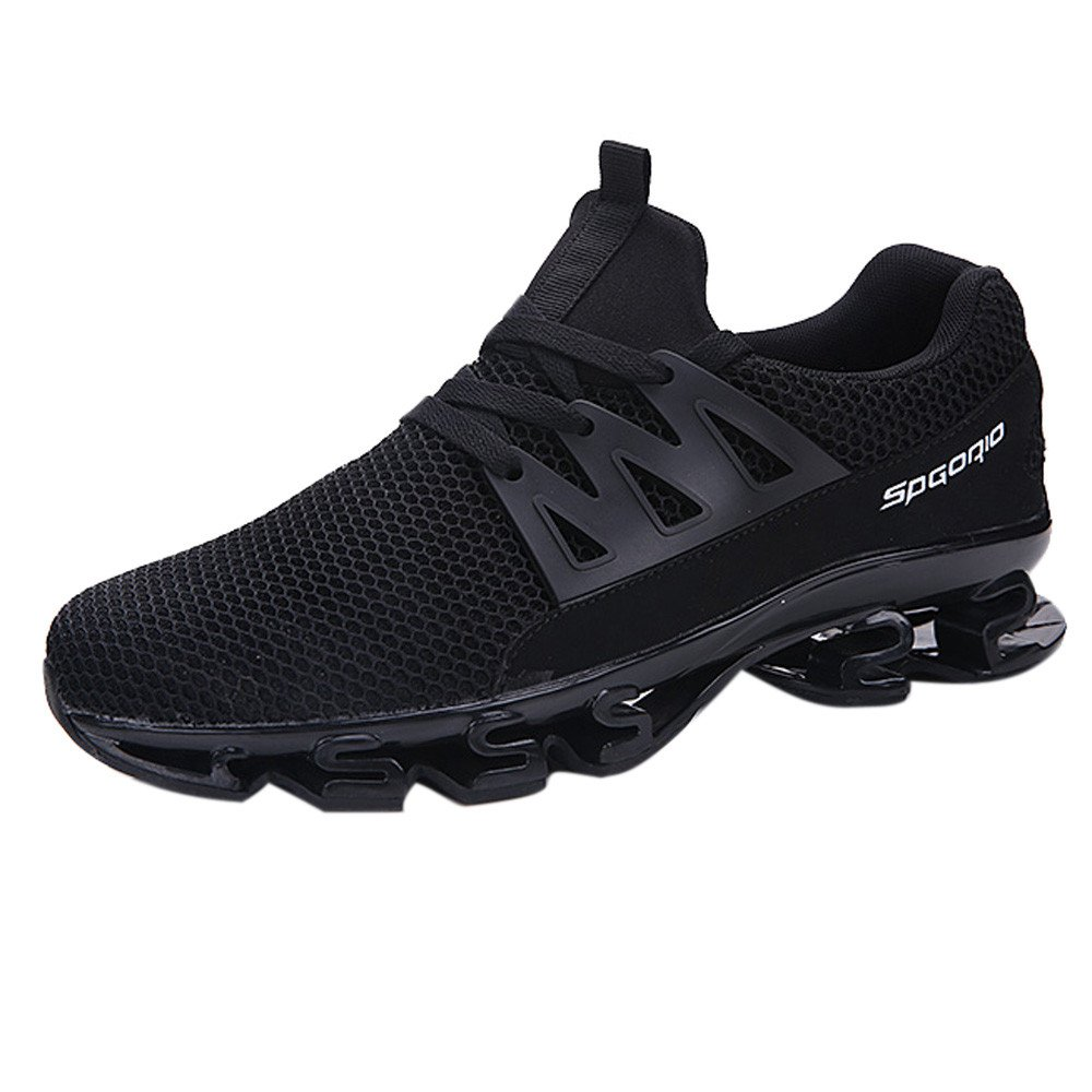 Unisex Mesh Lace Up Couple Mens Sports Blade Shoes Wear Resistant Non-Slip Light Running Shoes (Black 01, US:9)