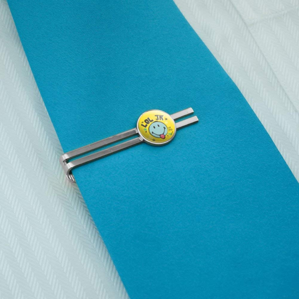 GRAPHICS /& MORE LOL JK Smiley Face Just Kidding Tongue Round Tie Bar Clip Clasp Tack Silver