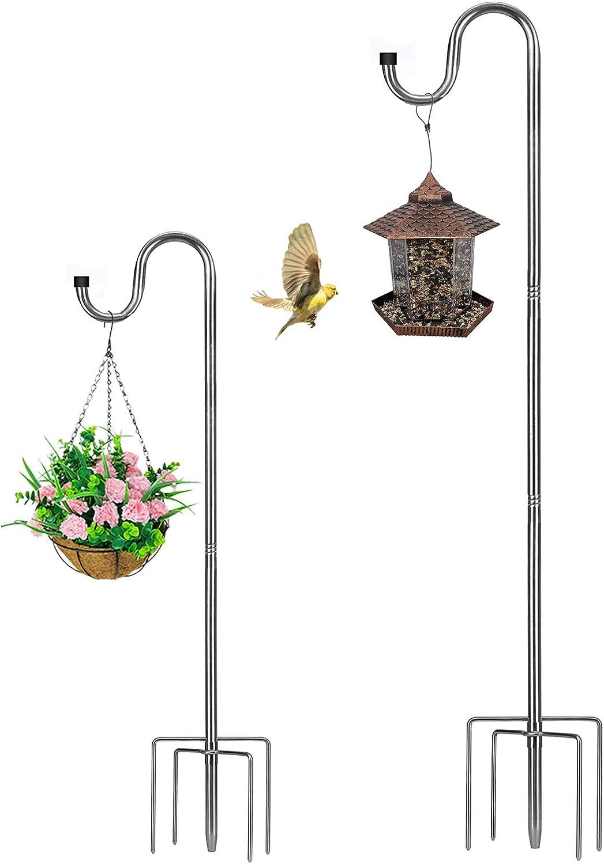 HOME RIGHT Bird Feeder Pole,30 to 62 inch Adjustable Shepherds Hook Heavy Duty 5 Prong Metal Hanger Hook Garden Plant Hooks for Wedding Decoration(1 Pack)